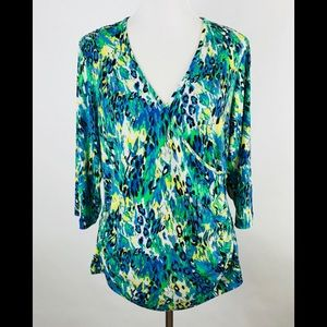 Just My Size Shirt Size 16W 3/4 Sleeve Blue